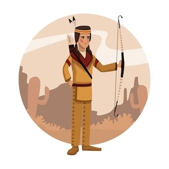 アメリカンインディアンの漫画の丸いアイコン