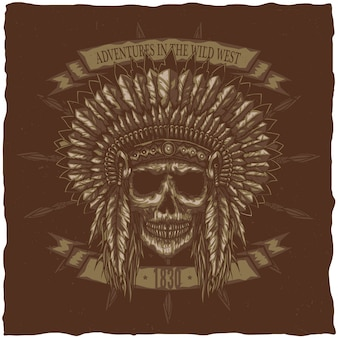 American indian chief skull with spears. t-shirt label design. hand drawn illustration.