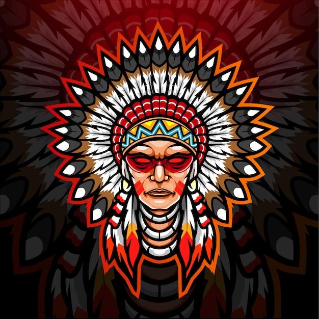 アメリカンインディアンのeスポーツのロゴのマスコットデザイン。