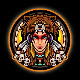 アメリカ・インディアンのeスポーツマスコットロゴデザイン。