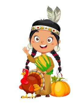 아메리칸 인디언 소녀 추수 감사절에 사용할 수 있는 귀여운 만화 캐릭터
