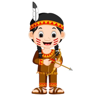 American Indian girl holding arrow