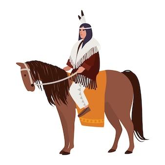 American indian man wearing ethnic clothes sitting on horse. horseman or horseback rider.