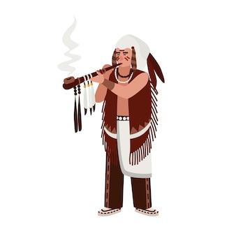 깃털로 장식된 의식용 파이프를 피우는 전통 의상을 입은 아메리칸 인디언 남자. 부족 또는 씨족 족장. 아메리카 원주민. 남성 만화 캐릭터입니다. 평면 벡터 일러스트 레이 션.