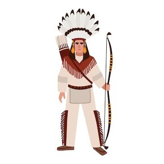 Американский индеец в военной шляпе и традиционной одежде, с копьем и щитом. коренные народы америки. мужской мультипликационный персонаж, изолированные на белом фоне. векторная иллюстрация.