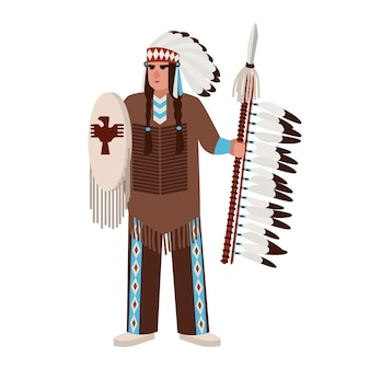 American indian man wearing war bonnet and traditional clothes and holding spear and shield