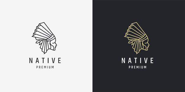 アメリカインディアンネイティブロゴアイコンデザインモノライン