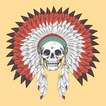 American indian skull in feather headdress