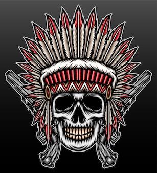 黒で隔離されるアメリカインディアンの頭蓋骨の頭