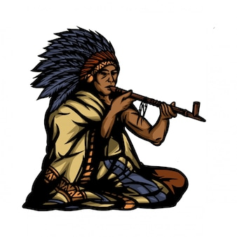American indian and smoke pipe