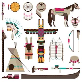 I simboli degli indiani d'america e gli accessori tribali fiat set di icone isolato