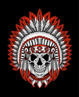 American indian tribal skull design