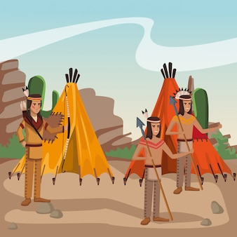 American indian tribe at village cartoon