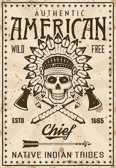 American indian tribe vintage poster template