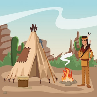 American indian at village
