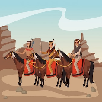 American indian warriors on horses at village cartoon