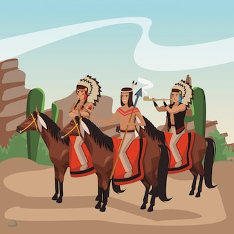 American indian warriors on horses at village