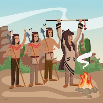 American indian warriors at village cartoon