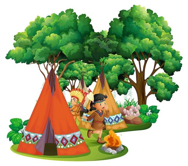 Американские индейцы в кемпинге