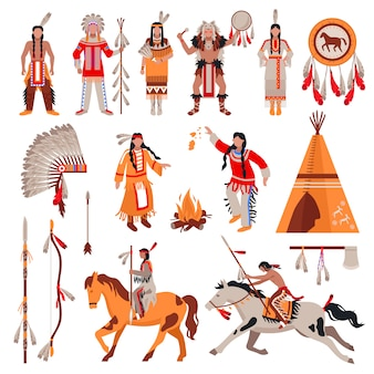 American indians characters and elements set