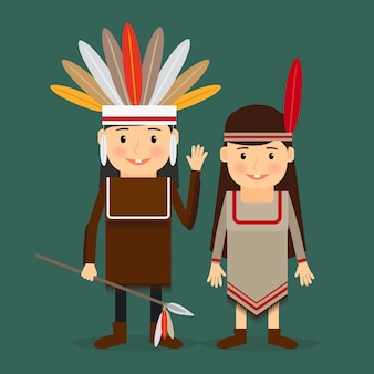 American indians children vector