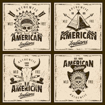 American indians colored emblems