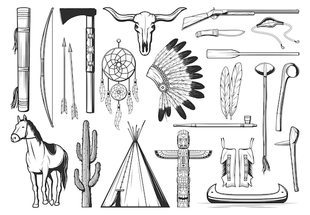 American indians culture symbols. thin line bow, arrows and quiver, tomahawk or hatchet