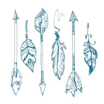 American indians feather arrows set, old tribal feathers hipster decoration. hipster vintage