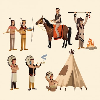 American indians icons set