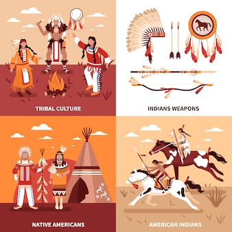 American indians illustration design concept