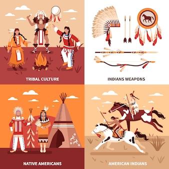 アメリカインディアンイラストデザインコンセプト