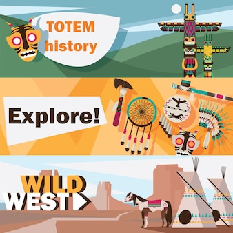 American indians wild west flat banner set isolated