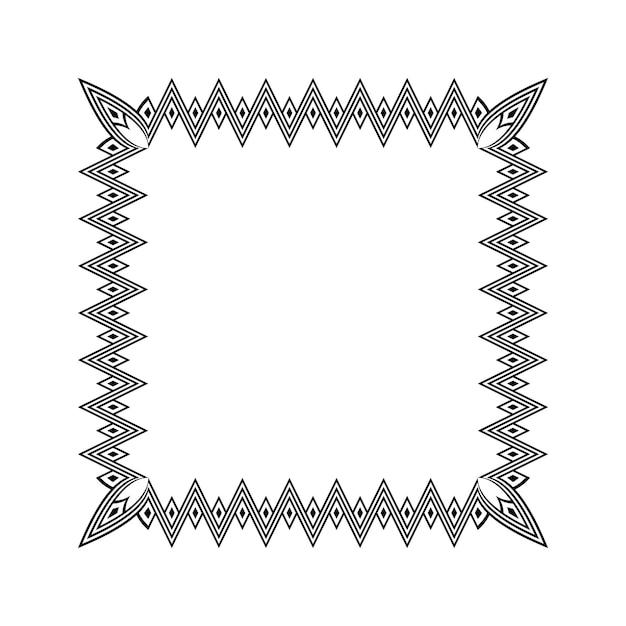 American indigenous ethnic square border frame set. vector