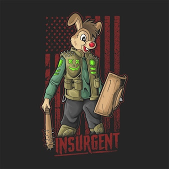 ウサギの頭のイラストベクトルとアメリカの反乱軍