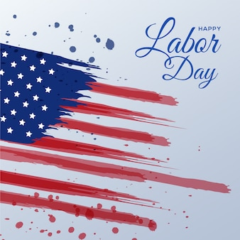 American labor day card with brush watercolor