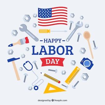 평면 디자인으로 미국 노동절 구성