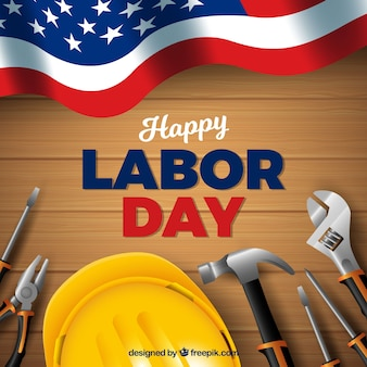 American labor day composition with realistic style