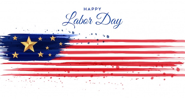 American labor day poster with brush watercolor