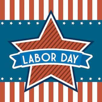 American labor day over stripes
