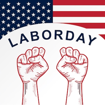 American labor day with clenched fist background