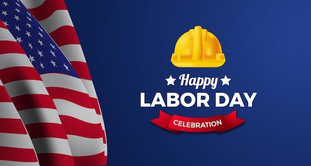 旗と安全技術者の労働者のヘルメットとアメリカの労働者の日