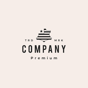 American leather genuine synthetic hipster vintage logo vector icon illustration