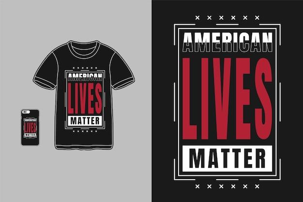 アメリカの生活が重要、tシャツのタイポグラフィテキスト