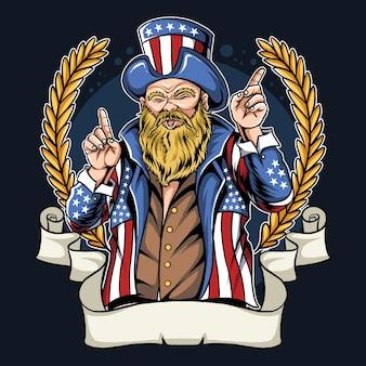미국 국기의 코트와 모자를 쓰고 콧수염과 수염을 가진 미국 남자.