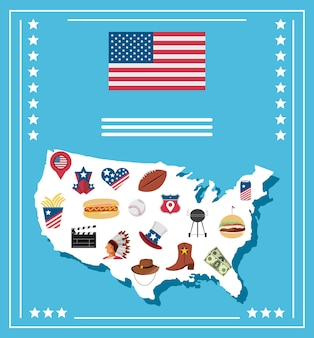 American map with culture icons