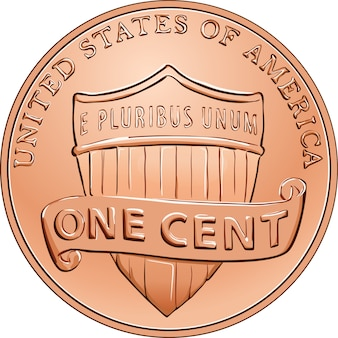 Американская монета денег один цент, пенни