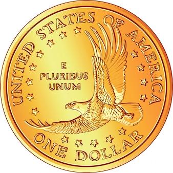 Американские деньги, золотая монета доллар с изображением флай