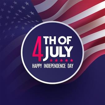 Американский национальный праздник. 4 июля флаг сша с американскими звездами, полосами и национальными цветами в день независимости.