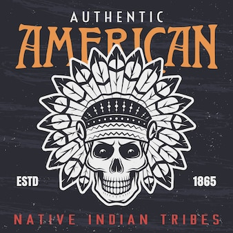 American native indian chief skull vintage illustration