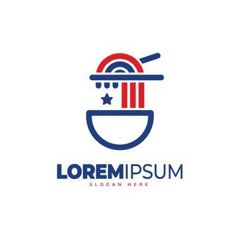 アメリカの麺のロゴのテンプレート